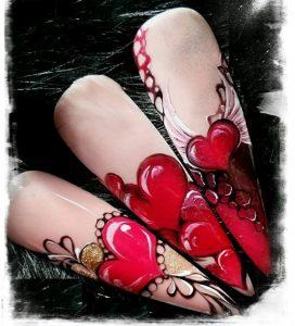 Modele unghii Valentines Day